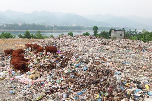 """Bãi rác Dốc Búng ngay sát Sông Đà nhưng chỉ được """"xử lý"""" bằng chôn lấp không có vật liệu lót đáy"""
