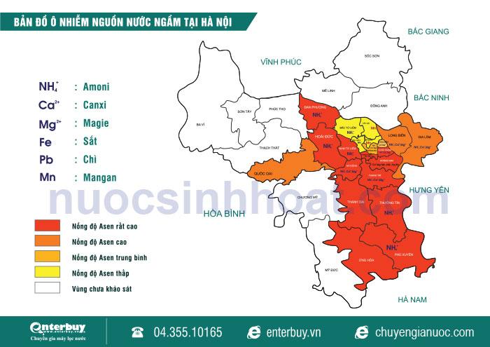 Bản đồ chất lượng nước ngầm Hà Nội