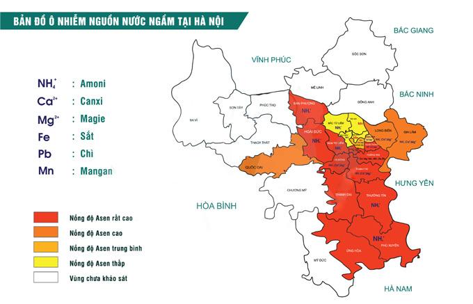 Bản đồ ô nhiễm nước sinh hoạt tại Hà Nội
